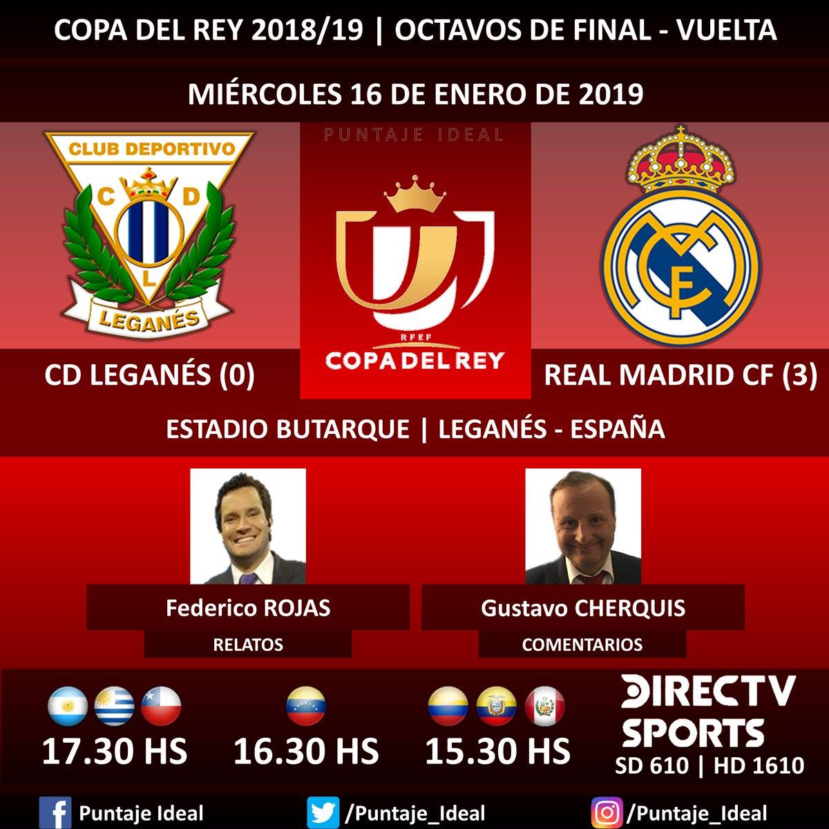 ⚽ #FútbolEnDIRECTV   #CDLeganés vs. #RealMadridCF 🎙 Relatos: @FDVENE  🎙 Comentarios: @Gustavo_che  📺 TV: @DIRECTVSports Sudamérica (610 - 1610 HD) - #Torneos 🤳 #SoySportista - #CopaDelRey 🇪🇸 - #LeganésRealMadrid  Dale RT 🔃