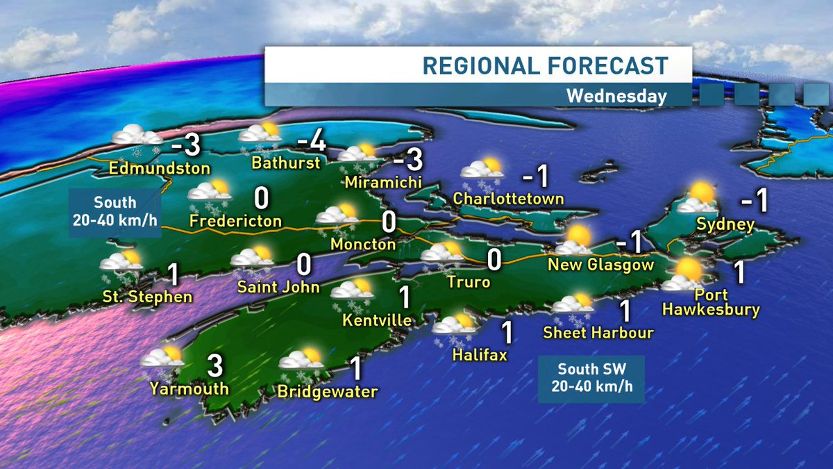 A cold start, but temps rising Wednesday, with light snow/flurries on tap. Cold air returns Thursday, before another light snow maker arrives Friday.  Sun/Mon looks stormy.  NS Forecast (22:45) https://t.co/ttxgjqwDfa  NB Forecast (16:00) https://t.co/RBQN87xSfD  #nswx #nbstorm