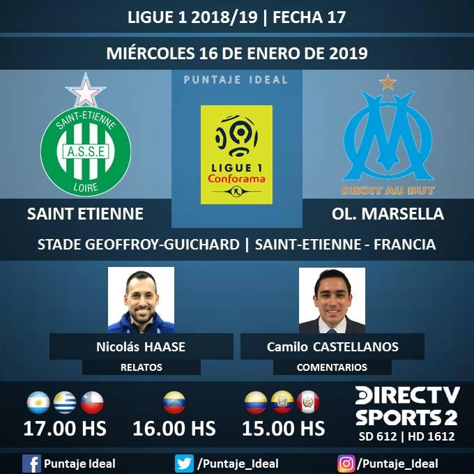 ⚽ #FútbolEnDIRECTV   #SaintEtienne vs. #OlympiqueMarsella 🎙 Relatos: @pedrobozoa  🎙 Comentarios: @CastellanosCami  📺 TV: @DIRECTVSports 2 Sudamérica (612 - 1612 HD) - #Torneos 🤳 #SoySportista - #Ligue1 🇫🇷 - #ASSEOM  Dale RT 🔃