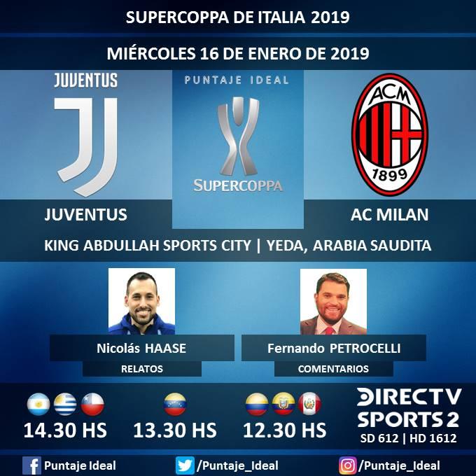 ⚽ #FútbolEnDIRECTV   #Juventus vs. #ACMilan 🎙 Relatos: @haasenico  🎙 Comentarios: @fpetrocelli  📺 TV: @DIRECTVSports 2 Sudamérica (612 - 1612 HD) - #Torneos 🤳 #SoySportista - #SupercoppaItalia 🇮🇹 - #JuveMilan  Dale RT 🔃