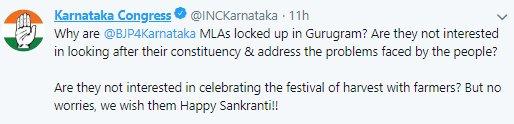 'Why are @BJP4Karnataka MLAs locked up in Gurugram?', @INCKarnataka said in a tweet #GathbandhanCrisis