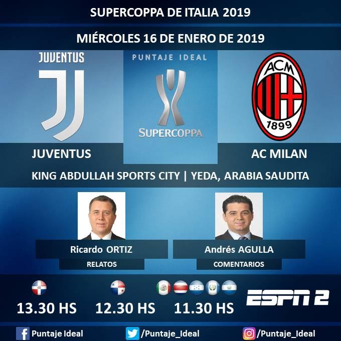 ⚽ #FútbolxESPN   #Juventus vs. #ACMilan 🎙 Relatos: @Rortiz_ESPN  🎙 Comentarios: @aagulla_espn  📺 #ESPN 2 México, Centroamérica y Rep. Dominicana 🖥 @ESPNPLAY  🤳 #ESPNesHD - #SupercoppaItalia 🇮🇹 - #JuveMilan  Dale RT 🔃
