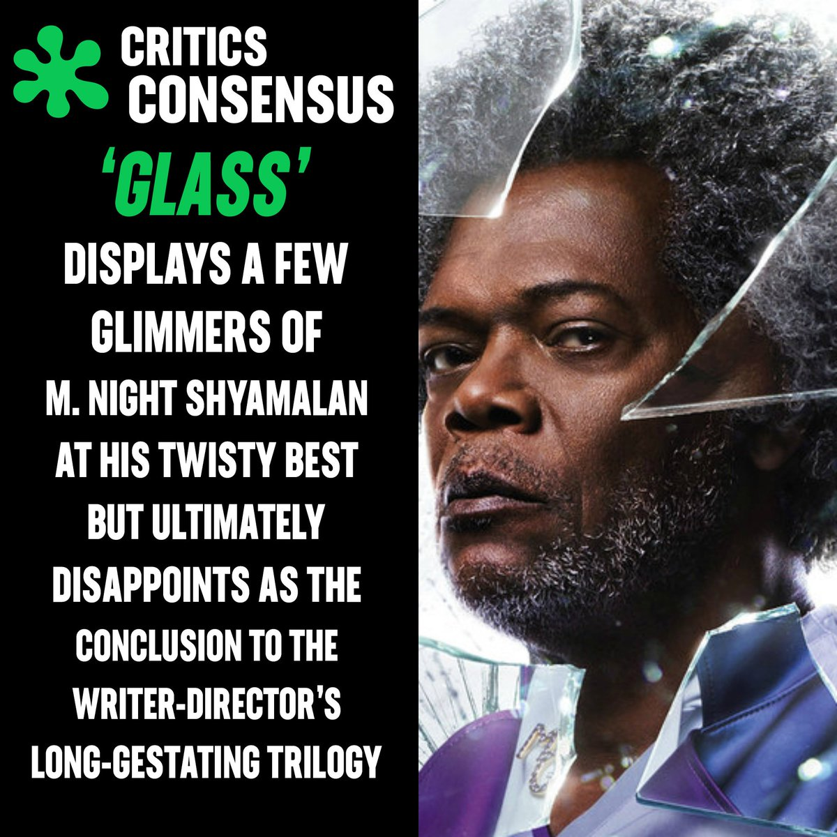 #GlassMovie is currently #Rotten at 41% on the #Tomatometer, with 61 reviews https://t.co/PZD3oGPO31