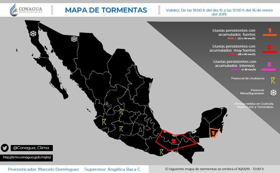 Mapa de #Tormentas #Pronóstico en #México, consúltalo a través de: http://smn.conagua.gob.mx/es/pronosticos/avisos/mapa-de-areas-con-potencial-de-tormentas…