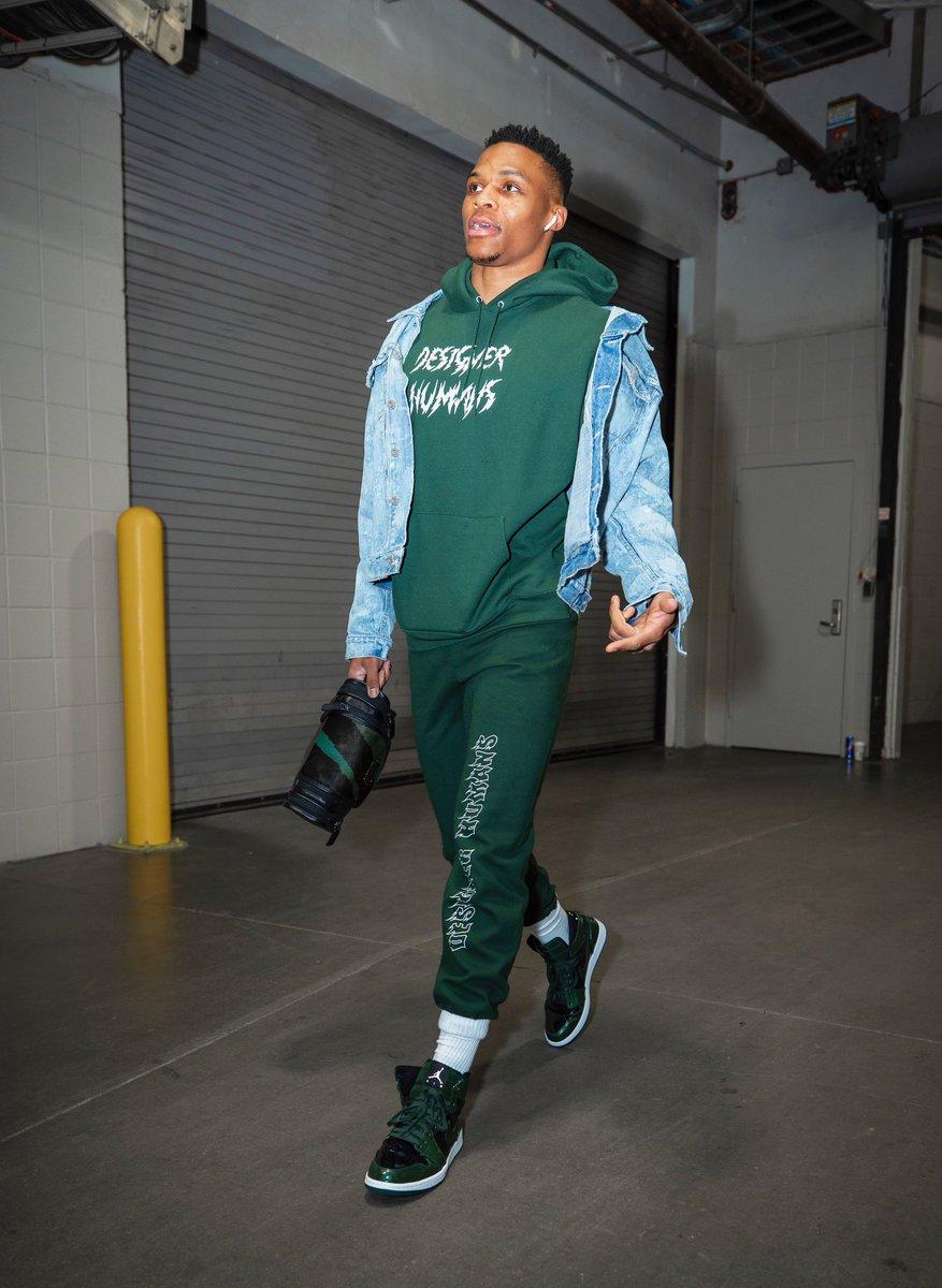 """Brodie in the building wearing """"Grove Green"""" Air Jordan 1s.   📸: Zach Beeker"""