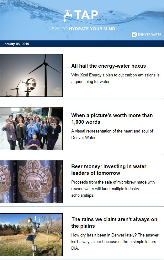 We're back! What's on TAP this week? What Xcel Energy's plan to cut carbon emissions means for water; Investing in water leaders of tomorrow, and more: denverwatertap.org/e-tap/  #TAPTuesday
