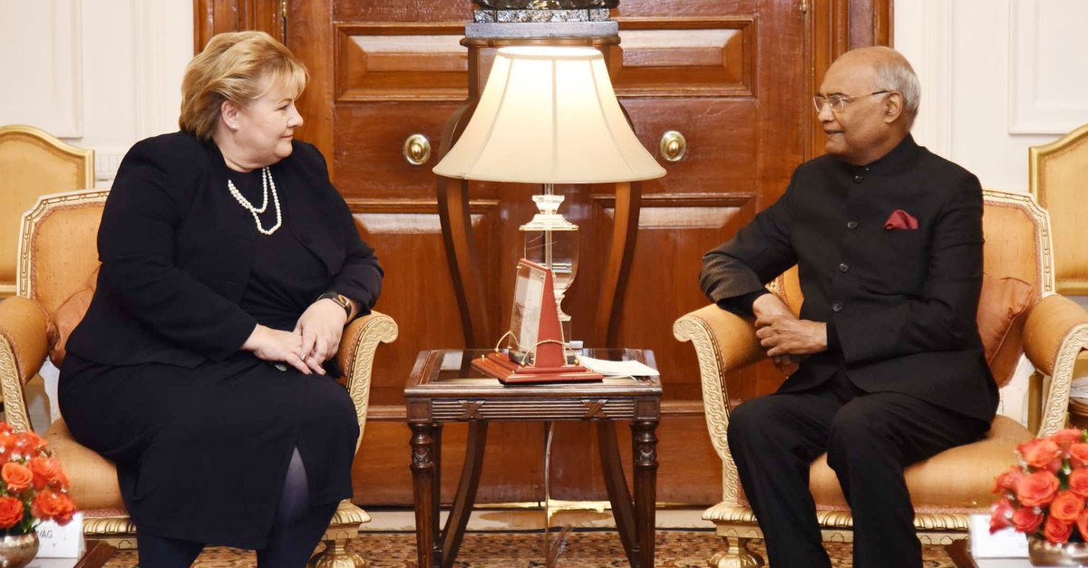Prime Minister of #Norway #ErnaSolberg calls on President #RamNathKovind.