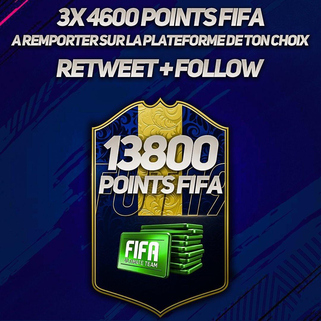 #CONCOURS J'ai 13800 POINTS FIFA (3x 4600) a vous faire gagner sur la console de votre choix à l'occasion de la TOTY, pour participer follow et RT ce tweet.  Je lance le même concours sur mon instagram pour 3x 4600 POINTS FIFA à gagner en plus !