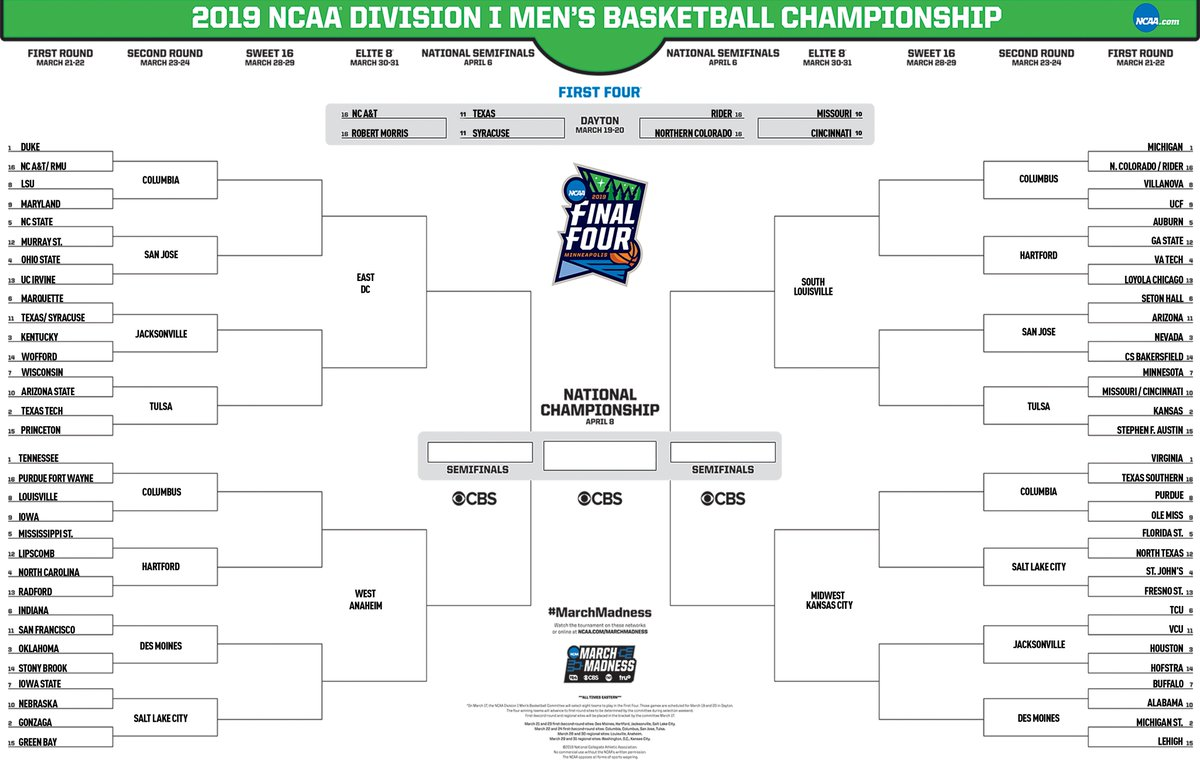 """Ncaa March Madness 2019 Dates: NCAA March Madness On Twitter: """"🚨 NEW BRACKET 🚨 With"""
