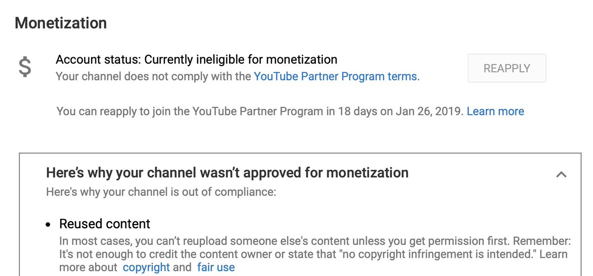 "@TeamYouTube I'll go straight to the point.  YouTube has demonetized my channel for ""reused content"". You think I'm uploading other people's content/not original stuff. I beg you—don't even try and reply with your usual pasted messages. Let me talk to an actual human. Privately."