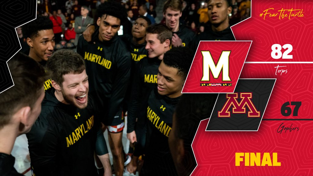 [ FINAL ] #Terps 82, Minnesota 67   Back-to-back road wins in the B1G! Cowan (27) and Stix (21) both with 20+ tonight as Maryland hands Minnesota its first home loss this season!   #FearTheTurtle