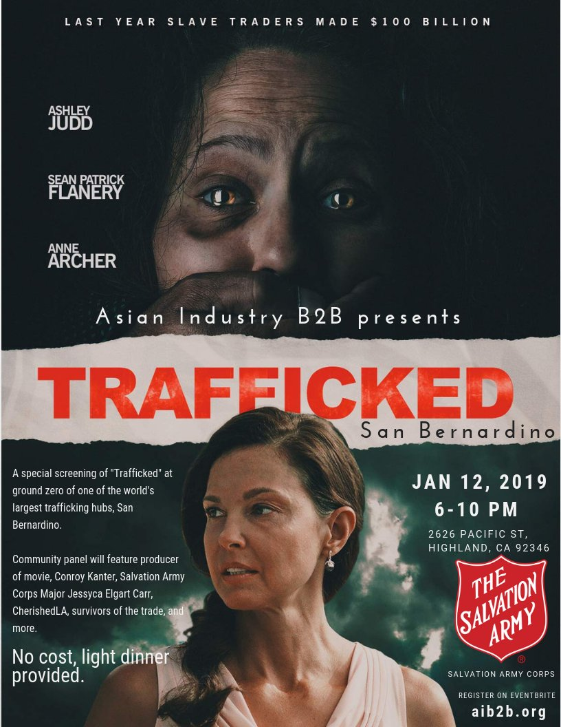 The Salvation Army San Bernardino Corps will be part of a special community panel after a screening of the film TRAFFICKED starring Ashley Judd. RSVP here: https://www.eventbrite.com/e/aib2b-screening-of-trafficked-in-san-bernardino-tickets-50893664320?aff=ebdssbdestsearch…