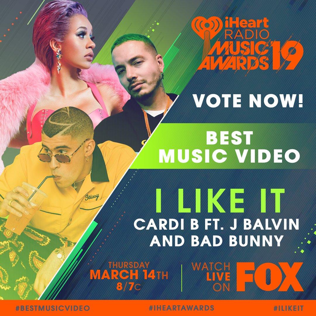🔥 @iamcardib x @JBALVIN x Bad Bunny 🔥  #ILikeIt #BestMusicVideo #iHeartAwards  https://t.co/aPueslpaIw