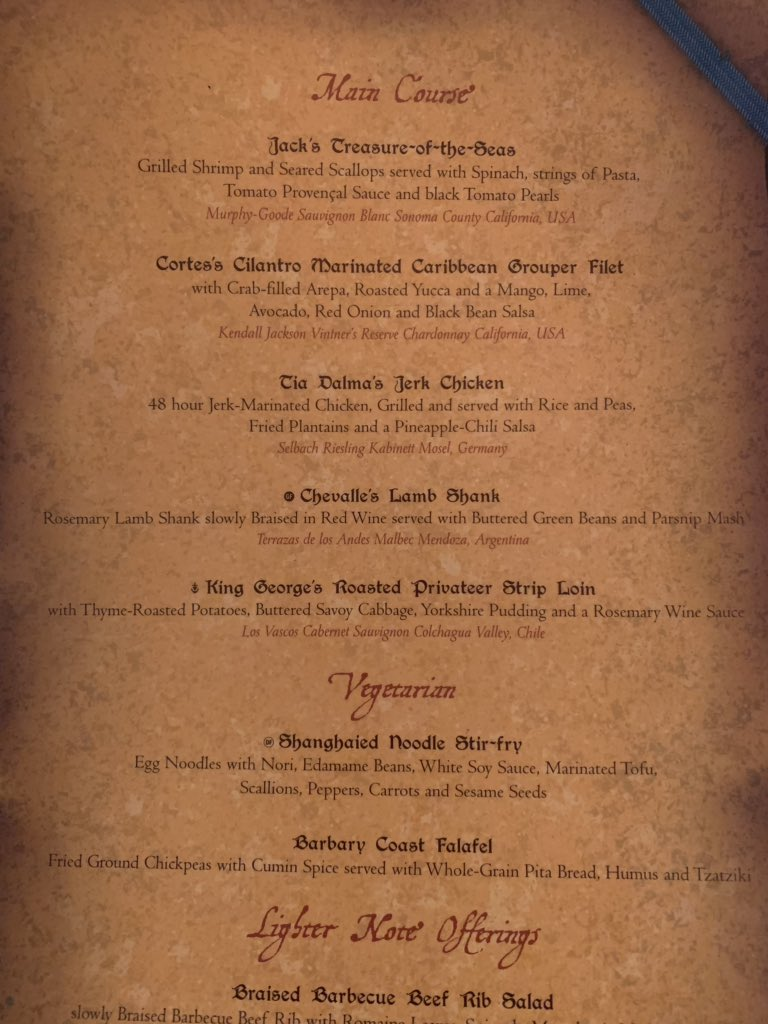Theme Park Review On Twitter Pirate Night Menu N Lumiere S