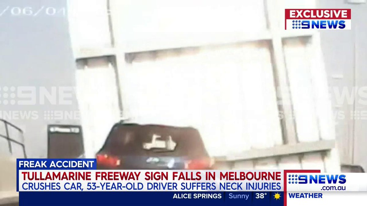 JUST IN: Exclusive vision of the moment a freeway sign came loose in Melbourne - crushing a passing car and injuring the woman behind the wheel. @LanaMurphy  #9News
