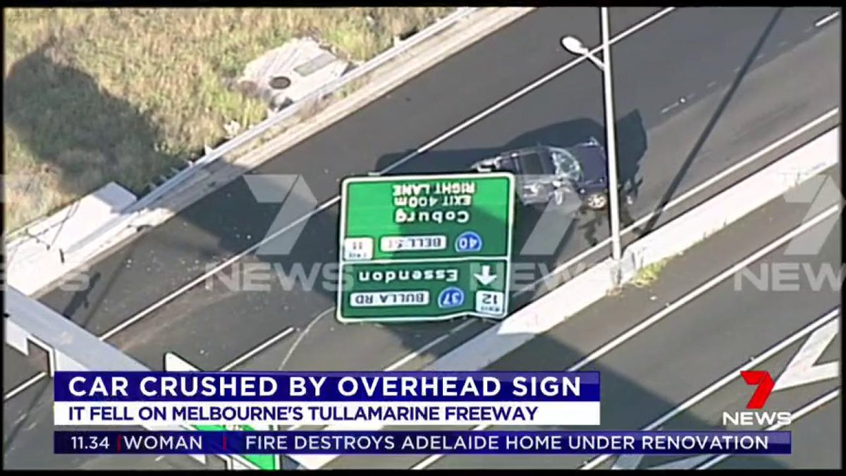 Authorities are urgently trying to work out how an overhead freeway sign fell, crushing a passing driver's car in Melbourne. Amazingly, she was not badly hurt and was taken to hospital in a stable condition suffering neck injuries. #Melbourne  #7News