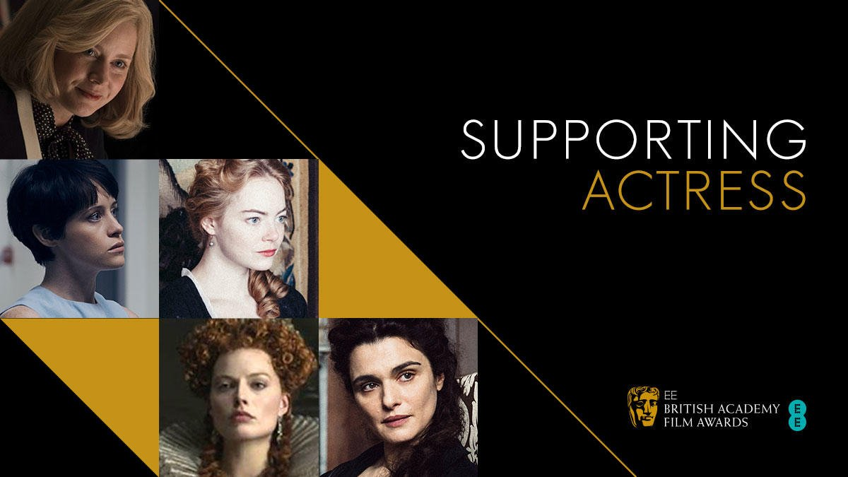 Nominated for Supporting Actress 🏆👏  Amy Adams Claire Foy Emma Stone Margot Robbie Rachel Weisz  #EEBAFTAs