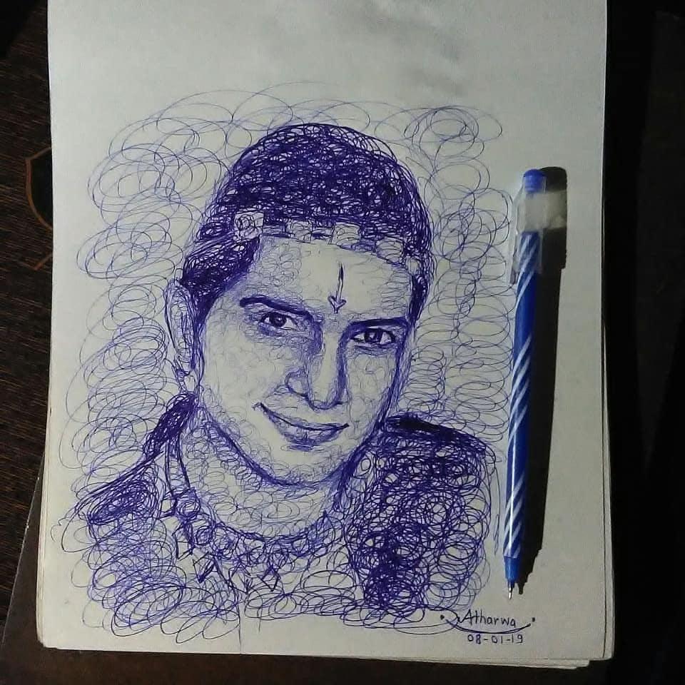 Scribbled Pen Sketch of Dau💫  @basantb0208  (Balaram of Radhakrishna Serial) Time taken -15 mins  How is it? #art #scribbling #pensketch #pendrawing #pen #artwork #dau #kribal  #RadhaKrishn