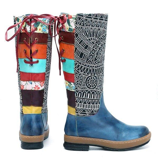 SOCOFY Women s Handmade Leather Boho Boots  Handpainted f964d0ea1a5