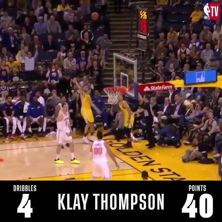 Klay dropped 43 points tonight with 4 total dribbles (and 0 free throws) 💪🏽