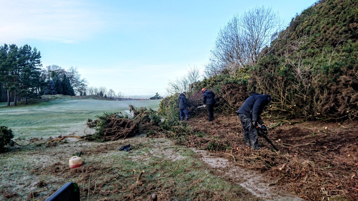 test Twitter Media - A frozen pitch has stopped us working on the greens, so we're back to clearing gorse on the right of 18th tee. https://t.co/MErMMdrIs1