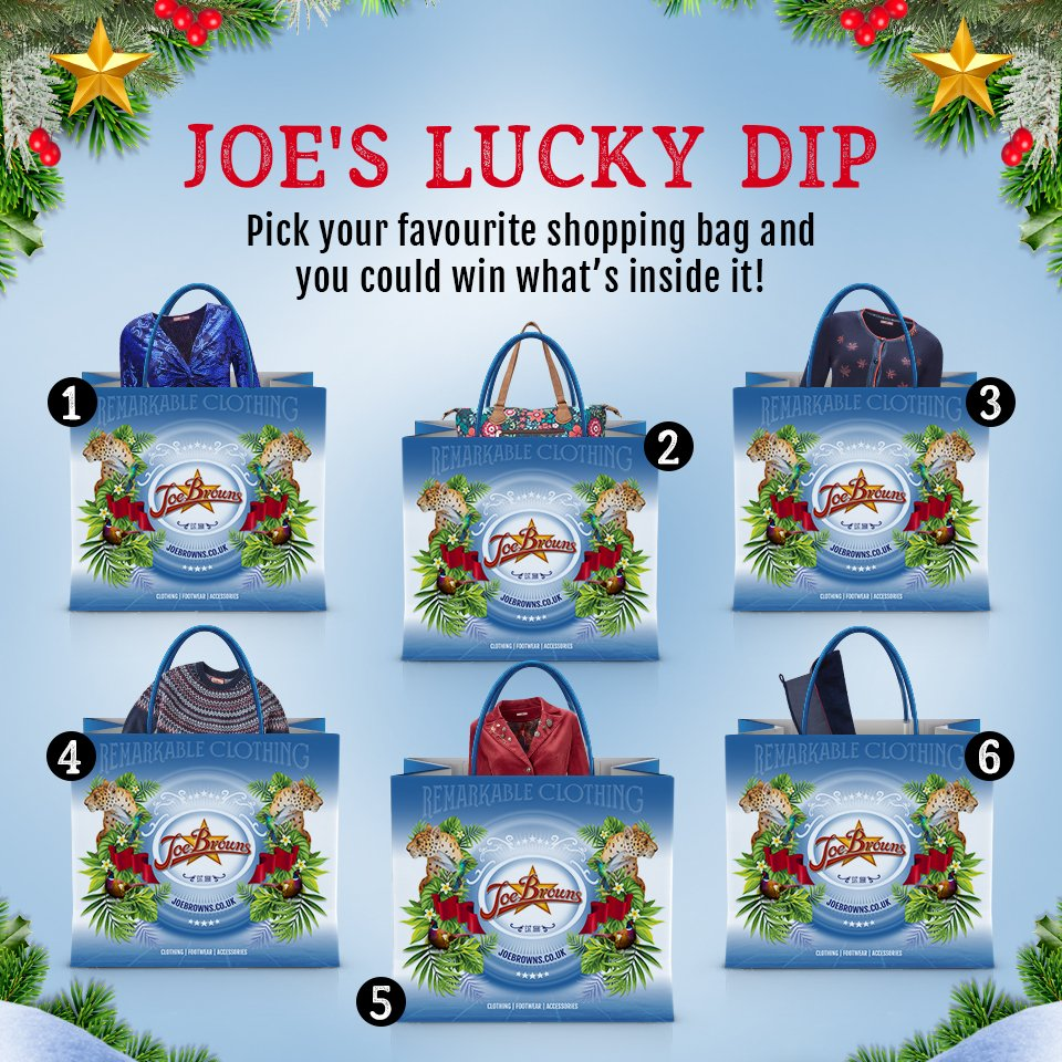 COMPETITION TIME!   To enter: follow @joebrowns, RT &amp; pick your favourite bag below numbered 1-6 and you could #WIN whats inside it!  (T&amp;C&#39;s apply, good luck folks!)   #lovejoebrowns #joebrowns #competitiontime #Competition #win #prize #giveaway #luckydip<br>http://pic.twitter.com/JdVG4elIym