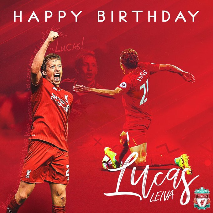 Happy Birthday Lucas Leiva miss you playing for Liverpool YNWA