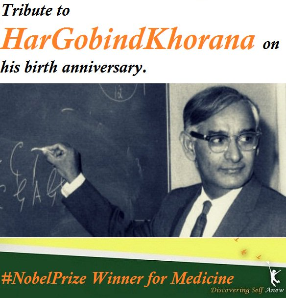 Tribute to #HarGobindKhorana on his birth anniversary.   #HarGobindKhorana was as Indian-born Nobel Laureates to receive 'The #NobelPrize in Physiology' or Medicine in 1968.