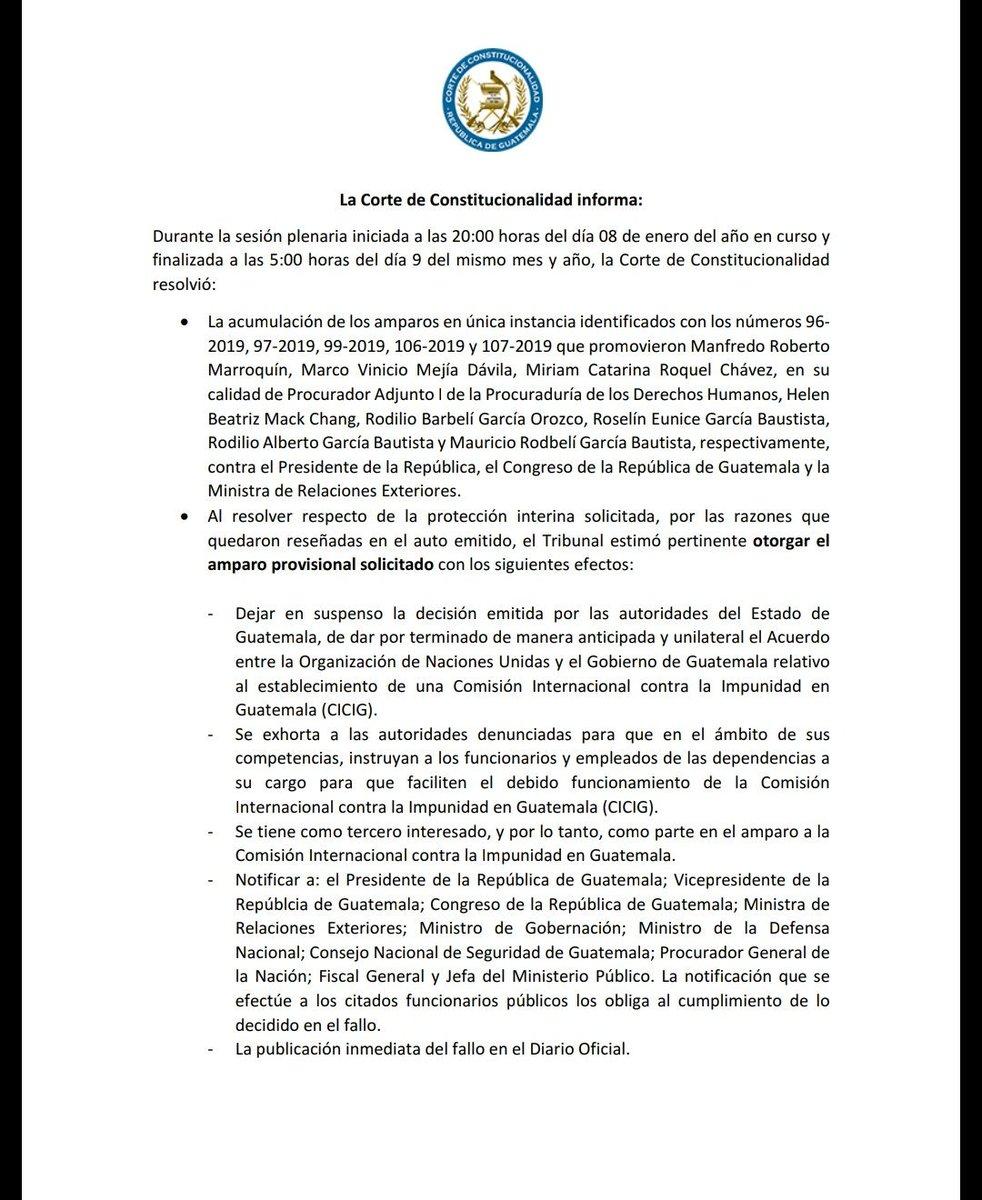 URGENTE: La @CC_Guatemala SUSPENDE la decisión del @GuatemalaGob del presidente @jimmymoralesgt de acabar en 24 horas con el convenio de la @CICIGgt