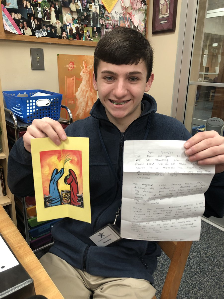 stratfordeagles 8th grade student, Mason, received his first pen pal