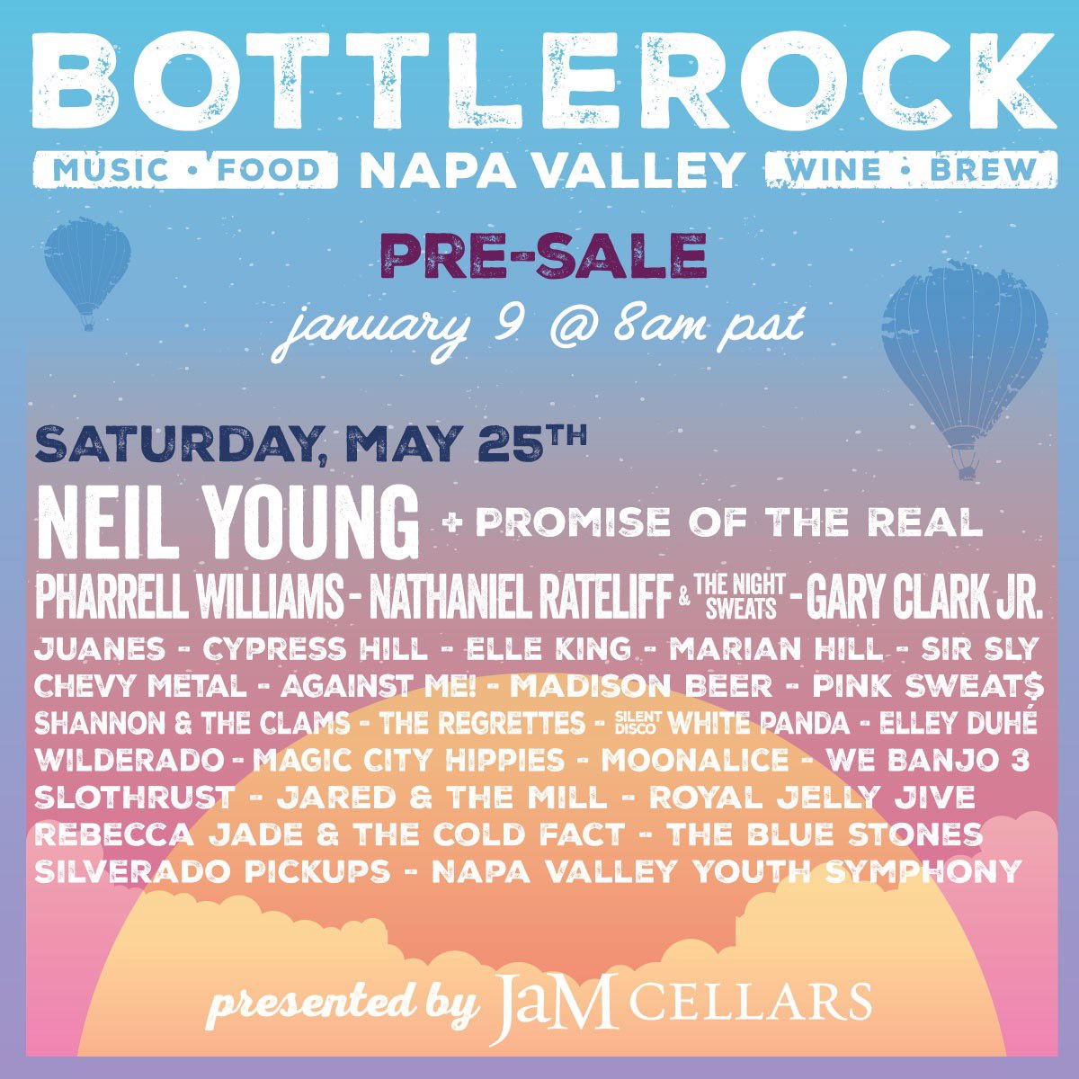 I'll be performing at @Bottlerocknapa Saturday May 25th. Be the first to get single day passes here: …https://bottlerocknapavalley.frontgatetickets.com/event/x96ozmspxho4h30a… Enter code: PharrellWilliams