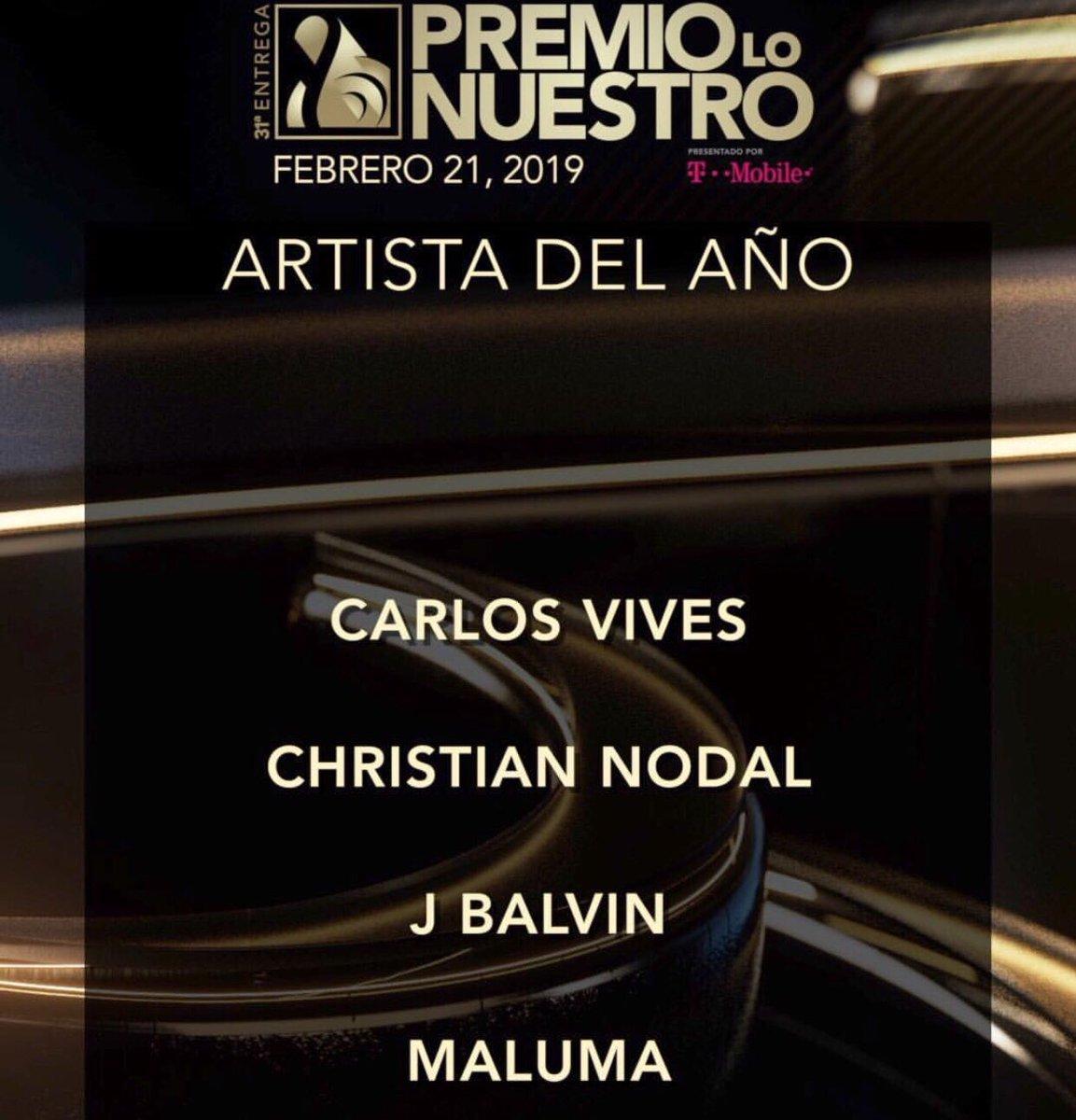 🔊 Aquí 👇🏻 los nominados a Artista del Año en #PremioLoNuestro2019 🥁🥁 ¿Quién es tu favorito? 🥇🥇 #CarlosVives #ChristianNodal #Jbalvin #Maluma https://t.co/2cfpIAk1xC