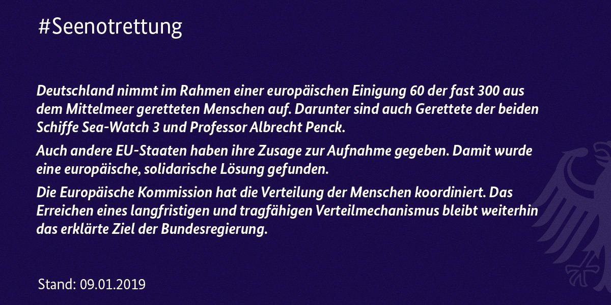 Gut. Wichtig ist es aber, solche Lösungen auch für alle zukünftigen Fälle fest zu legen. Es ist untragbar, die rettenden Schiffe alleine zu lassen und ihnen die Einfuhr in europäische Häfen zu verwehren. Hier muss sich #Deutschland in der #EU stark machen. #Menschenrechte