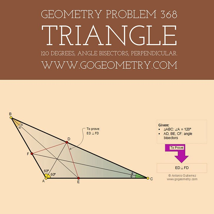 Euclidean #Geometry Problem 368, #Triangle 120 degrees, Angle