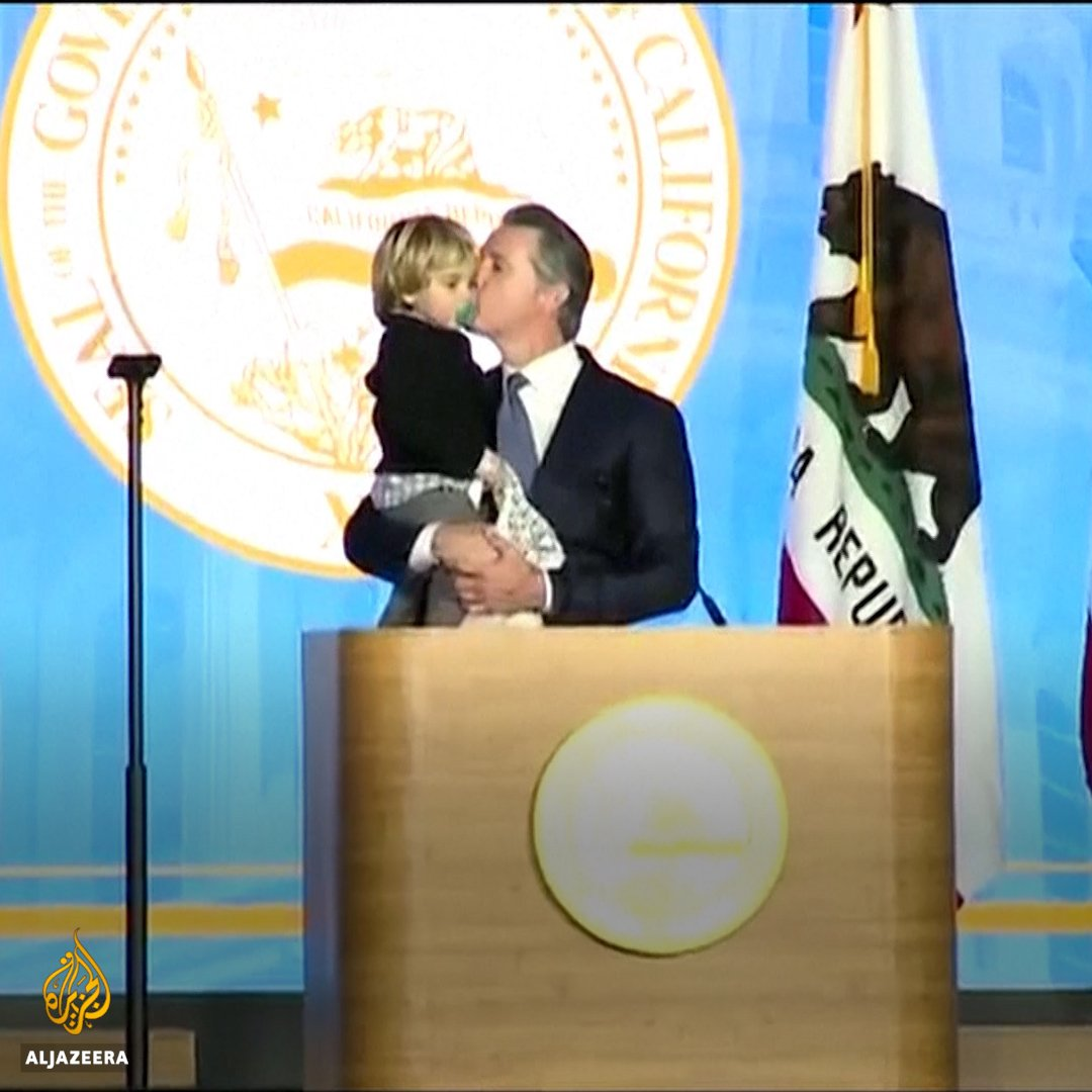 The moment California's newly elected governor Gavin Newsom's 2-year-old son interrupted his inauguration speech.