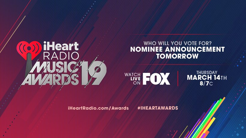 Coming up at 8AM we reveal the nominees for the 2019 #iHeartAwards https://t.co/CPxi4IWUnb