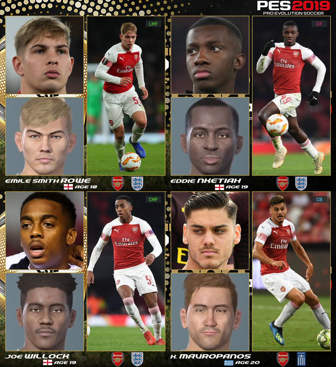 Pes 2021 Face Suggestions On Twitter Premier League Face Suggestions For Dlc 4 0 2 E Smith Rowe E Nketiah Willock K Mavropanos T Chong D Dalot