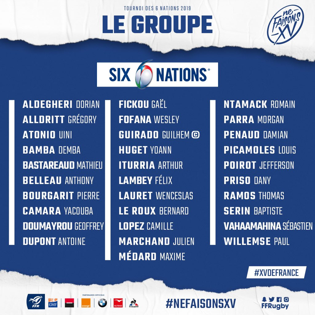 France name 2019 Six Nations squad | Ultimate Rugby Players
