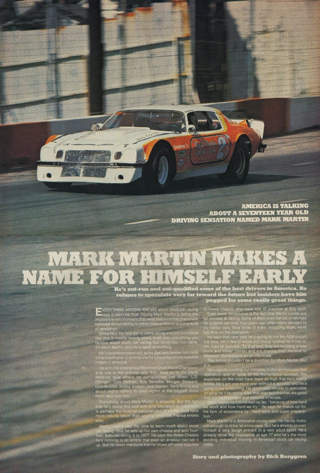 """America is talking about a 17 year-old driving sensation named Mark Martin\""  Happy Birthday to Mark Martin!"