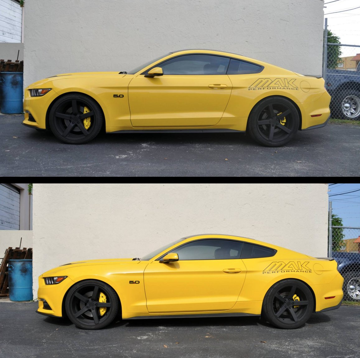 RT BMRSuspension: MAK Performance providing us with a good before and after shot to show the difference the BMR lowering springs makes on a S550 Mustang's stance.  #BMRsuspension #makperformance #BeforeAndAfter #Stance #mustang #fordperformance #S550 #lo… https://t.co/UFWc5jj9Fn