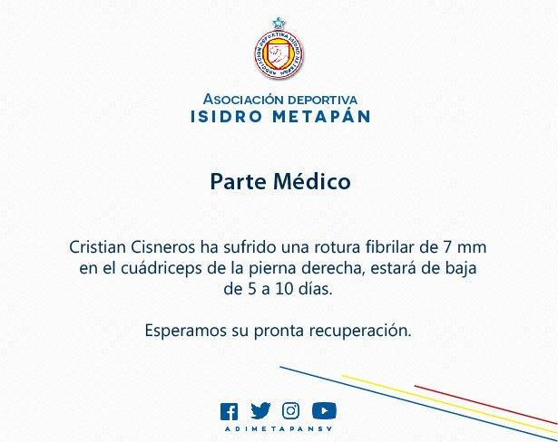 AD Isidro Metapn Parte Mdico Cristian Cisneros