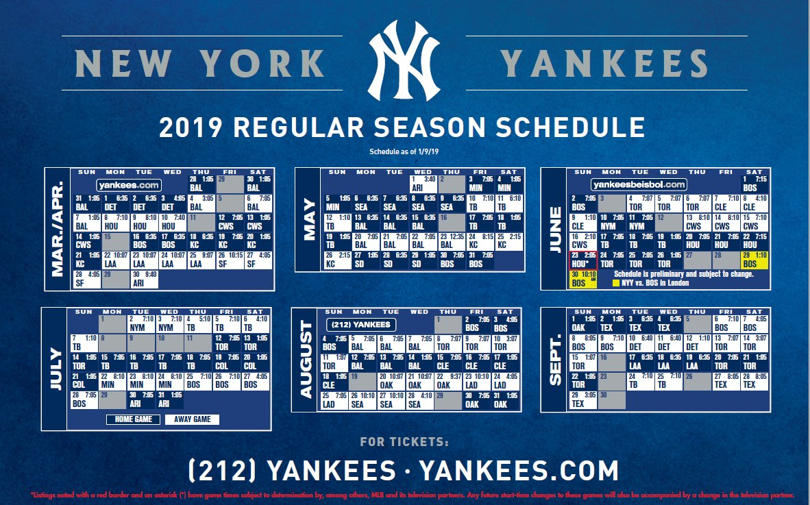 graphic regarding New York Yankees Printable Schedule titled Contemporary York Yankees upon Twitter: \