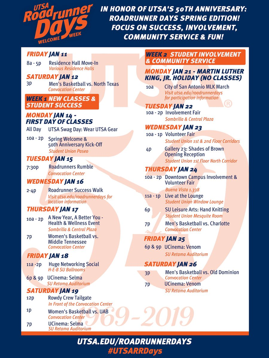 Utsa Academic Calendar Spring 2022.Utsa On Twitter Spring Semester Starts Next Week And We Can T Wait To Welcome 32 000 Plus Students Back To Campus With All The Exciting Things Going On This Year We Thought We D Kick
