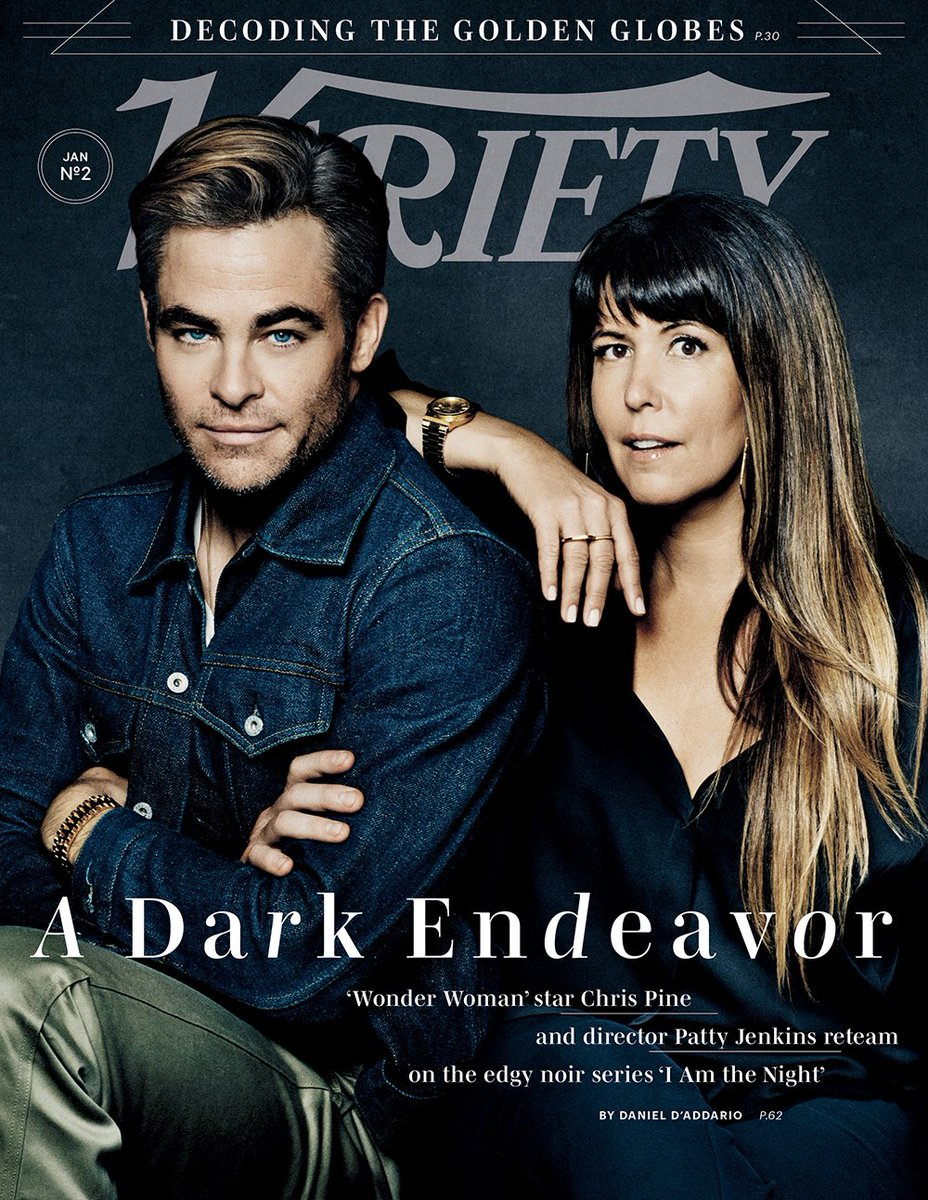 The brilliant and visionary @PattyJenks graces the cover of this week's Variety alongside her collaborator and star Chris Pine in support of their new noir thriller limited series @IAmTheNightTNT. Be sure to tune in Jan 28! 🌗🌙💫