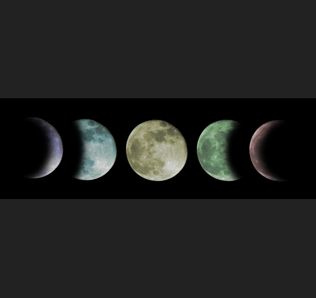 Coloured moon phases at night from my Beyond Earth Collection.  https://www.etsy.com/uk/listing/581518044/coloured-moon-phases-print-moon-space?ref=shop_home_active_40&frs=1 … - https://jakehall.photography/   #photography #designer #photographer