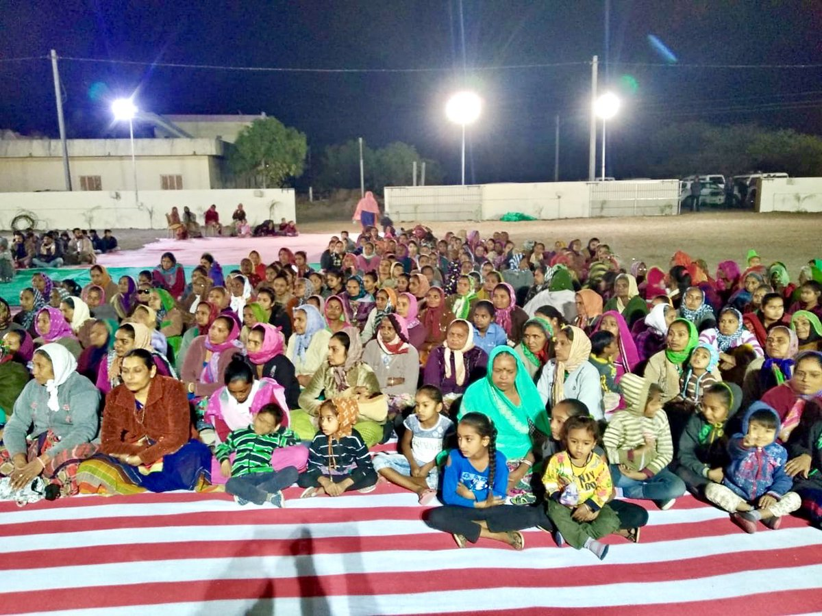 Night Halt at #Kotha_Pipaliya Village, #Lodhika Taluka #Rajkot.  Amazing response from all parts of village. A very interactive session where women and men participated enthusiastically. Superb cleanliness, #Active_Sarpanch. @SDMRajkotRural. @pkumarias  @CollectorRjt  @CMOGuj