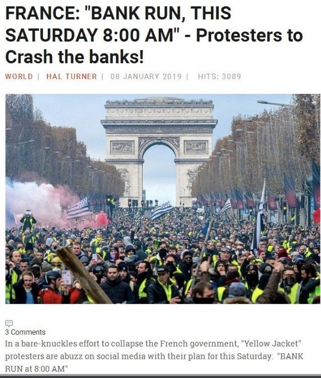 &quot; BANK RUN, This Saturday 12 January at 8:00 AM &quot; - By #GiletsJaunes #YellowVests. Collapse #Macron Government by getting your cash out from corrupted Banks in #France this weekend.<br>http://pic.twitter.com/YDDHEp6QQZ