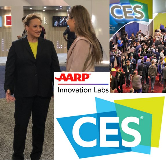 Great to be at #CES2019, on the lookout for innovative products and services of interest to people 50+! @AARP @AARPiLabs #DisruptAging #LongevityEconomy @CES