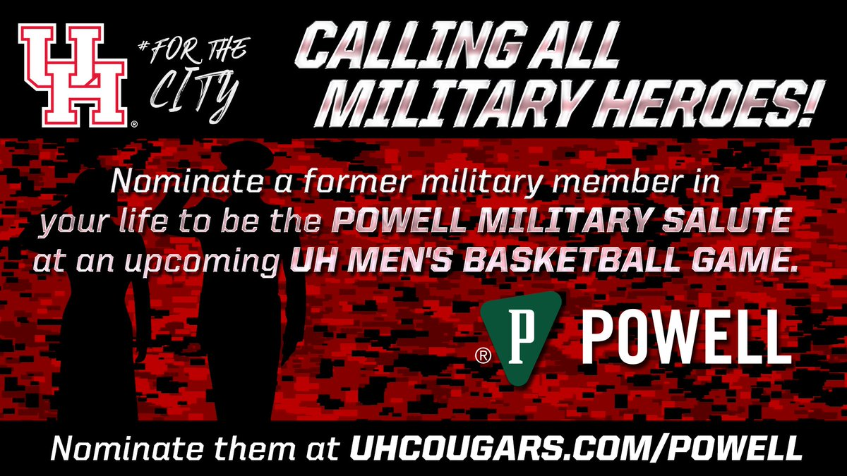 Houston Athletics On Twitter Know A Current Or Former UH Student That Should Be Recognized At UHCougarMBK Game Nominate Them As The Powellindjobs