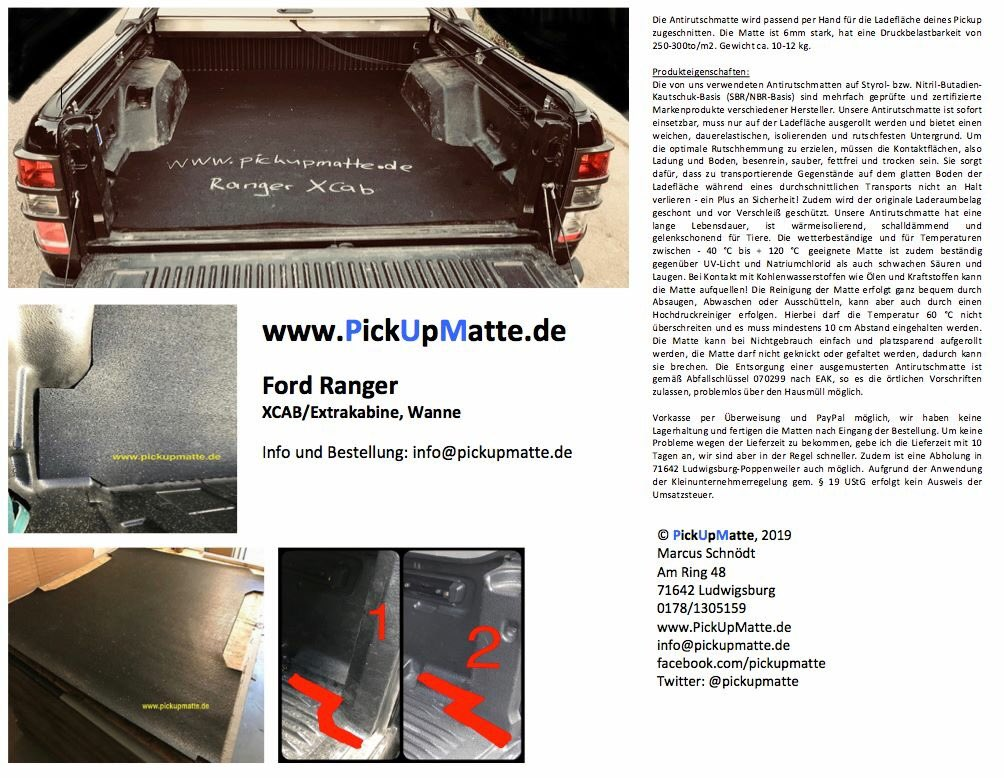 Antirutschmatte für Ford Ranger Extrakabine XCAB Wanne NEU PickUpMatte